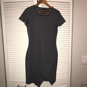 Striped black white banana republic dress